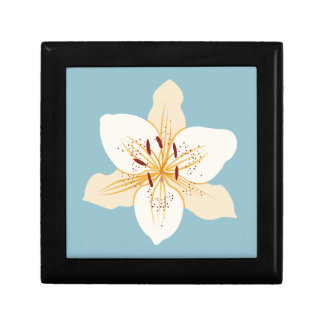 Day Lily Illustrative Design on Light Blue Trinket Boxes