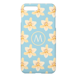 Day Lily Illustrative Ptn on Lt Blue(Personalized) iPhone 7 Plus Case