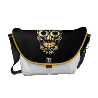 DAY OF DEAD BAG mexican GOLDEN SKULL MESSENGER BAG