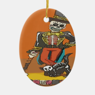 Day of Dead Skelton and Cat Ceramic Ornament