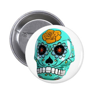 Day of the Dead Aqua Candy Skull 2 Inch Round Button