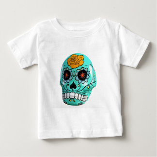 Day of the Dead Aqua Candy Skull Baby T-Shirt