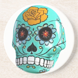 Day of the Dead Aqua Candy Skull Beverage Coaster