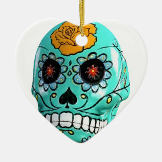 Day of the Dead Aqua Candy Skull Ceramic Heart Ornament