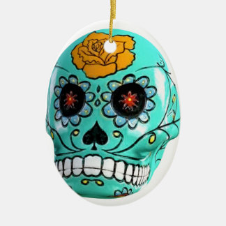 Day of the Dead Aqua Candy Skull Ceramic Oval Ornament