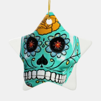 Day of the Dead Aqua Candy Skull Ceramic Star Ornament