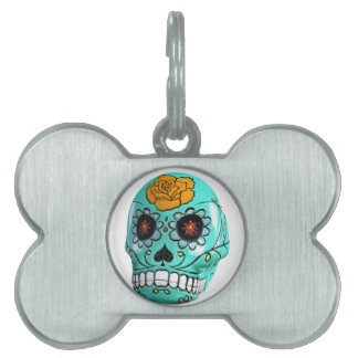 Day of the Dead Aqua Candy Skull Pet ID Tag