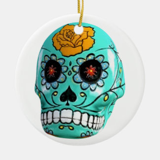 Day of the Dead Aqua Candy Skull Round Ceramic Ornament