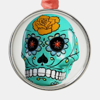 Day of the Dead Aqua Candy Skull Silver-Colored Round Ornament