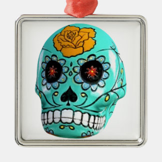 Day of the Dead Aqua Candy Skull Silver-Colored Square Ornament
