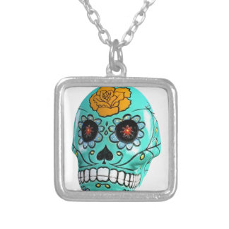 Day of the Dead Aqua Candy Skull Silver Plated Necklace