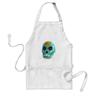 Day of the Dead Aqua Candy Skull Standard Apron