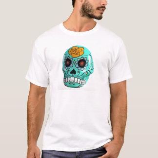 Day of the Dead Aqua Candy Skull T-Shirt