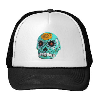 Day of the Dead Aqua Candy Skull Trucker Hat