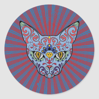 Day of the Dead Blue Cat Sugar Skull Classic Round Sticker