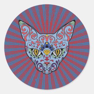 Day of the Dead Blue Cat Sugar Skull Round Sticker