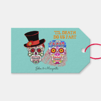 Day Of The Dead Bride And Groom Party Gift Tags
