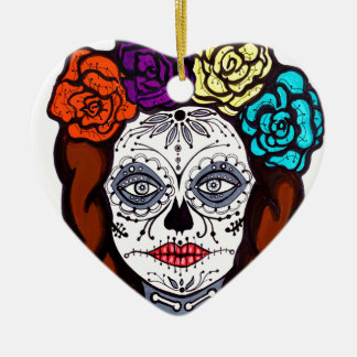 Day of the Dead Bride Ceramic Heart Ornament