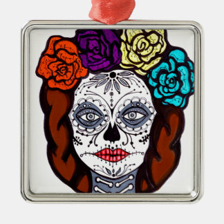Day of the Dead Bride Metal Ornament