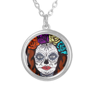 Day of the Dead Bride Silver Plated Necklace