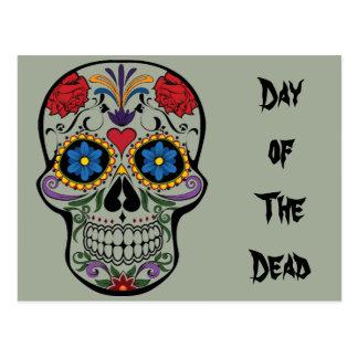 Day of The Dead, Calavera Sugar Skull Floral Postcard