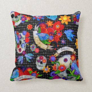 Day of the Dead Calaveras and Hearts Pillow