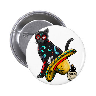 Day of the dead cat 2 inch round button
