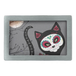 Day of the Dead Cat Belt Buckles