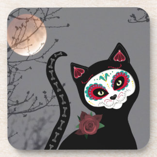 Day of the Dead Cat Beverage Coasters
