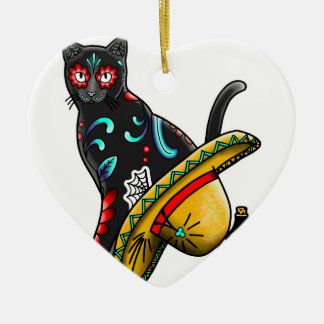 Day of the dead cat ceramic heart ornament