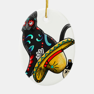 Day of the dead cat ceramic oval ornament
