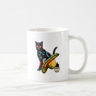 Day of the dead cat coffee mug