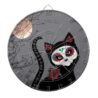 Day of the Dead Cat Dartboard With Darts