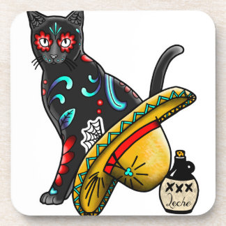 Day of the dead cat drink coaster