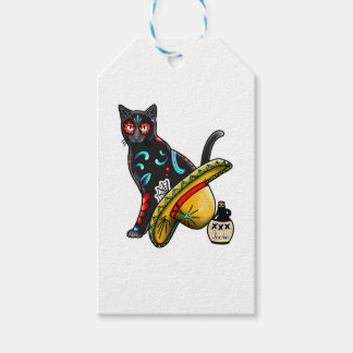 Day of the dead cat gift tags
