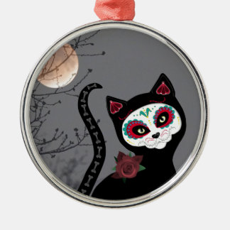 Day of the Dead Cat Metal Ornament