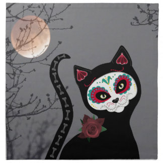 Day of the Dead Cat Napkin