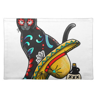 Day of the dead cat placemat