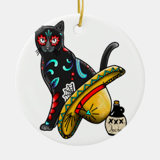 Day of the dead cat round ceramic ornament