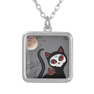 Day of the Dead Cat Silver Plated Necklace