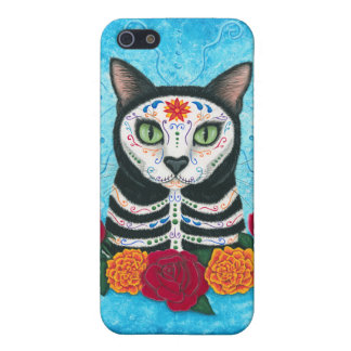 Day of the Dead Cat Sugar Skull Art iPhone Case