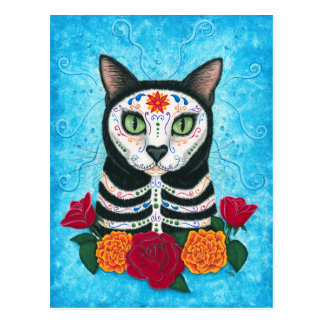 Day of the Dead Cat Sugar Skull Art Postcard