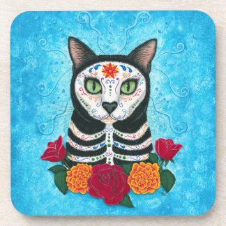 Day of the Dead Cat Sugar Skull Cat Art Beverage Coasters