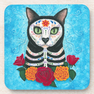 Day of the Dead Cat, Sugar Skull Cat Art Coasters