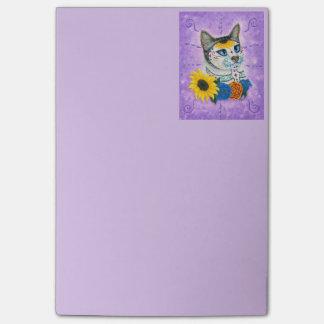 Day of the Dead Cat Sunflower Sugar Skull  Notepad
