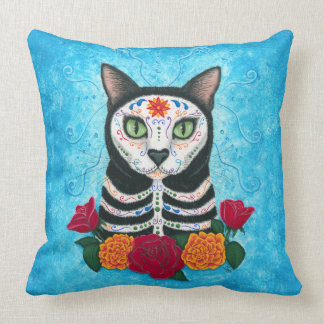 """Day of the Dead Cat Throw Pillow 20"""" x 20"""""""