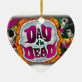 Day of the Dead Ceramic Heart Ornament