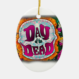 Day of the Dead Ceramic Oval Ornament