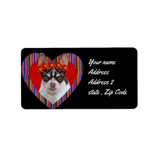 Day of the Dead Chihuahua dog address labels