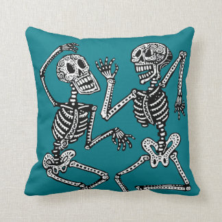 Day of the Dead Dancing Skeletons - Customize! Throw Pillow